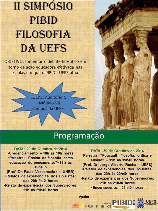II Simpósio PIBID Filosofia da UEFS