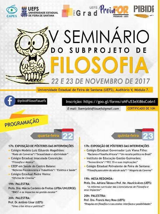 V Seminário do Subprojeto de Filosofia PIBID/UEFS